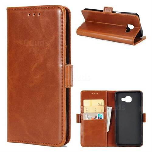 Luxury Crazy Horse PU Leather Wallet Case for Samsung Galaxy A7 2016 A710 - Brown