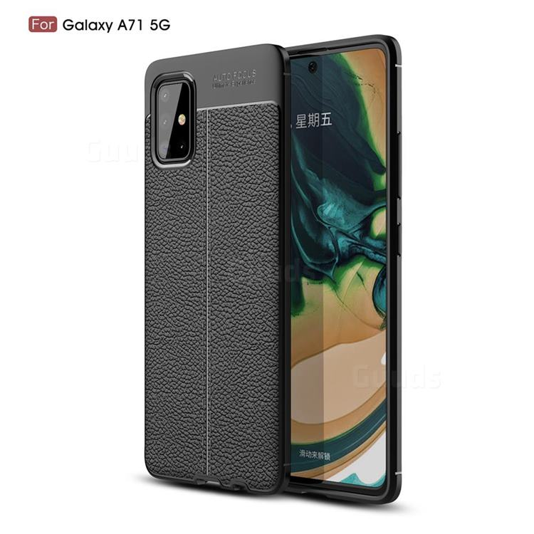 Luxury Auto Focus Litchi Texture Silicone TPU Back Cover for Samsung Galaxy A71 5G - Black
