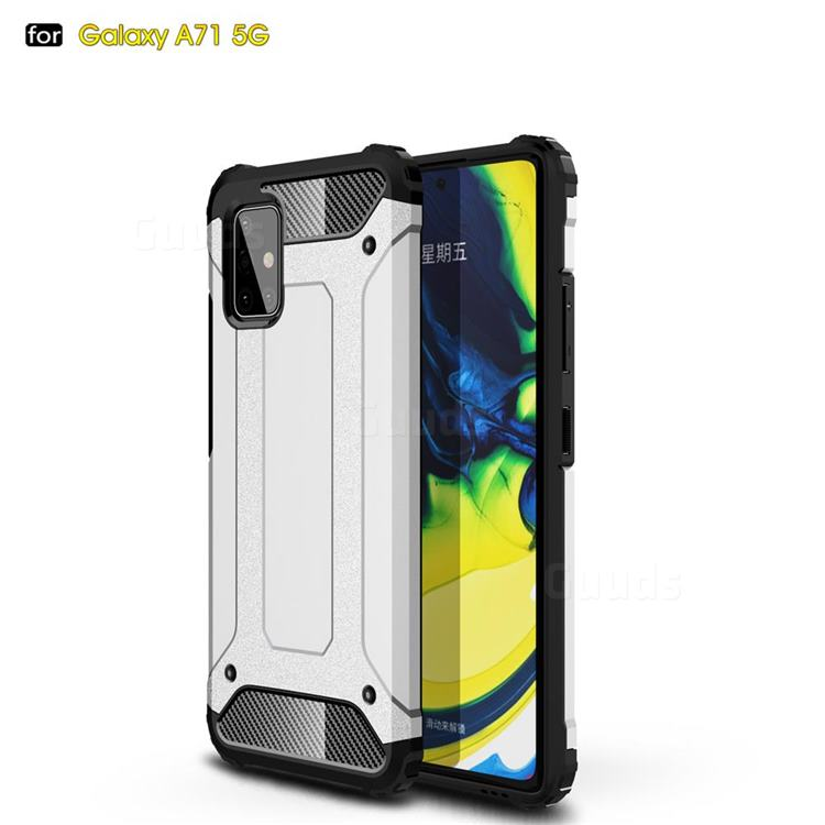 King Kong Armor Premium Shockproof Dual Layer Rugged Hard Cover for Samsung Galaxy A71 5G - White