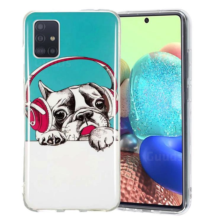 Headphone Puppy Noctilucent Soft TPU Back Cover for Samsung Galaxy A71 5G