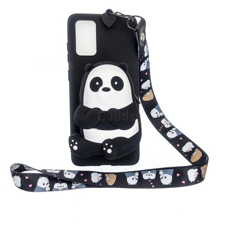 Cute Panda Neck Lanyard Zipper Wallet Silicone Case for Samsung Galaxy A71 5G