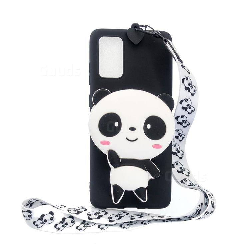 White Panda Neck Lanyard Zipper Wallet Silicone Case for Samsung Galaxy A71 5G