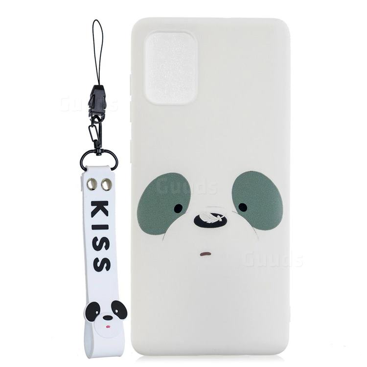 White Feather Panda Soft Kiss Candy Hand Strap Silicone Case for Samsung Galaxy A71 5G