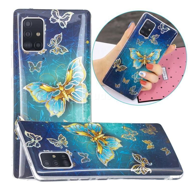 Golden Butterfly Painted Galvanized Electroplating Soft Phone Case Cover for Samsung Galaxy A71 5G