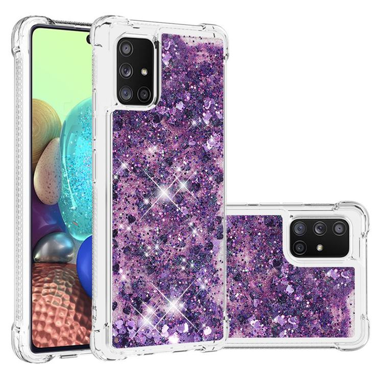 Dynamic Liquid Glitter Sand Quicksand Star TPU Case for Samsung Galaxy A71 5G - Purple