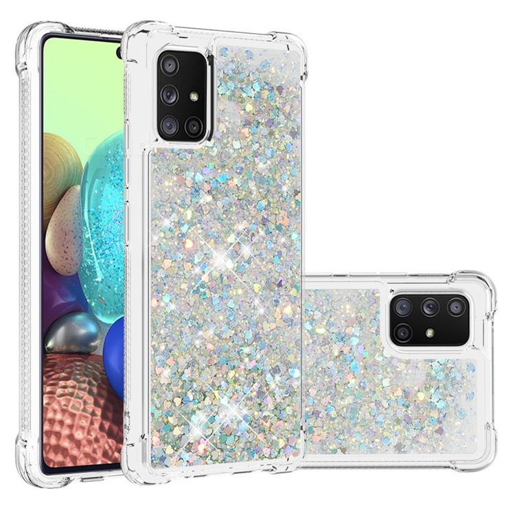 Dynamic Liquid Glitter Sand Quicksand Star TPU Case for Samsung Galaxy A71 5G - Silver