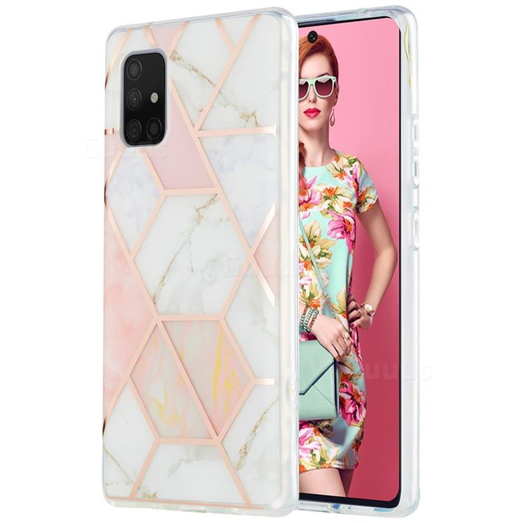 Pink White Marble Pattern Galvanized Electroplating Protective Case Cover for Samsung Galaxy A71 5G