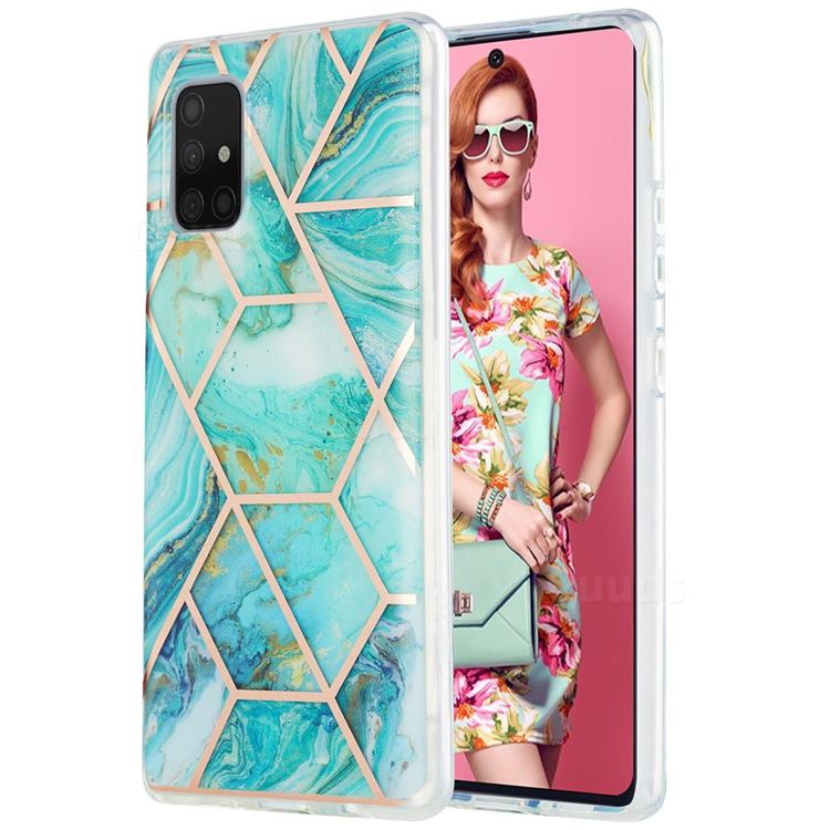 Blue Sea Marble Pattern Galvanized Electroplating Protective Case Cover for Samsung Galaxy A71 5G