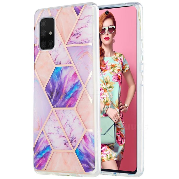 Purple Dream Marble Pattern Galvanized Electroplating Protective Case Cover for Samsung Galaxy A71 5G