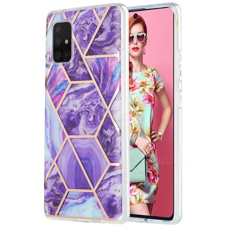 Purple Gagic Marble Pattern Galvanized Electroplating Protective Case Cover for Samsung Galaxy A71 5G