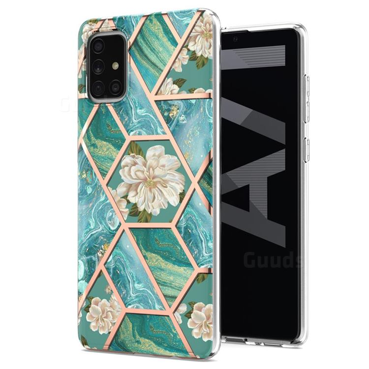 Blue Chrysanthemum Marble Electroplating Protective Case Cover for Samsung Galaxy A71 5G