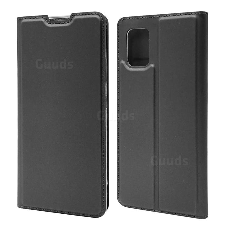 Ultra Slim Card Magnetic Automatic Suction Leather Wallet Case for Samsung Galaxy A71 5G - Star Grey