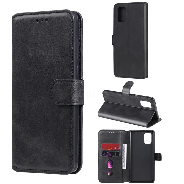 Retro Calf Matte Leather Wallet Phone Case for Samsung Galaxy A71 5G - Black