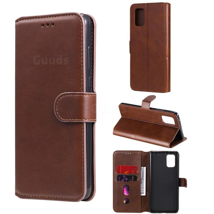 Retro Calf Matte Leather Wallet Phone Case for Samsung Galaxy A71 5G - Brown