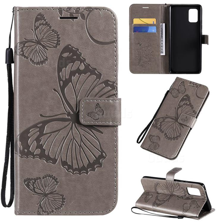 Embossing 3D Butterfly Leather Wallet Case for Samsung Galaxy A71 5G - Gray