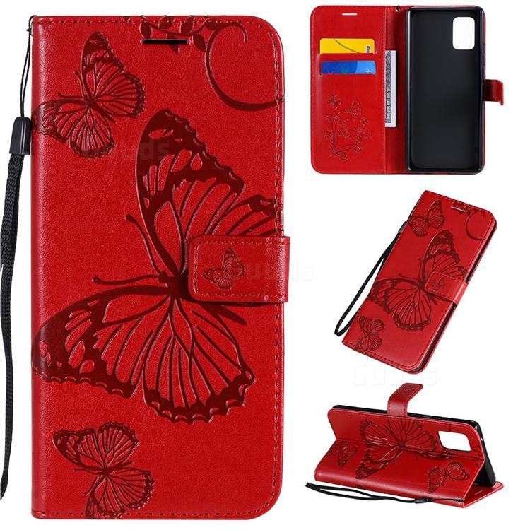 Embossing 3D Butterfly Leather Wallet Case for Samsung Galaxy A71 5G - Red