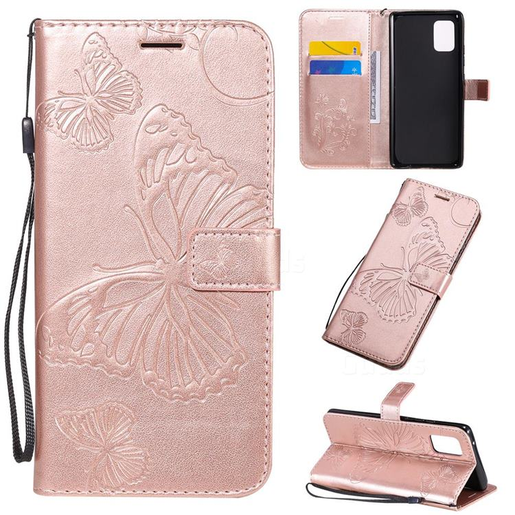 Embossing 3D Butterfly Leather Wallet Case for Samsung Galaxy A71 5G - Rose Gold
