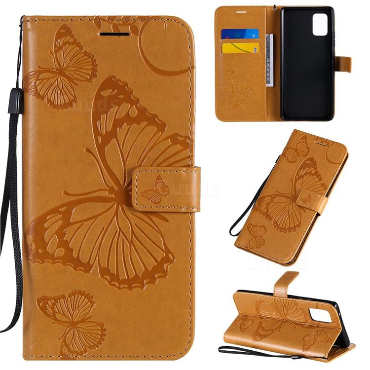 Embossing 3D Butterfly Leather Wallet Case for Samsung Galaxy A71 5G - Yellow