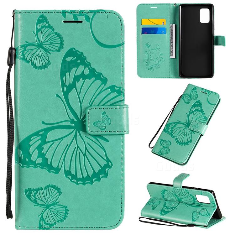 Embossing 3D Butterfly Leather Wallet Case for Samsung Galaxy A71 5G - Green