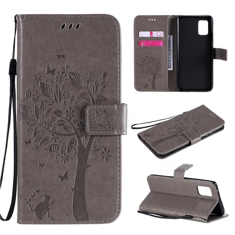 Embossing Butterfly Tree Leather Wallet Case for Samsung Galaxy A71 5G - Grey