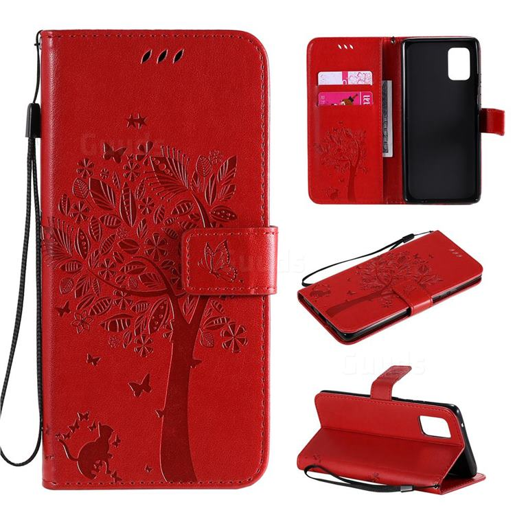 Embossing Butterfly Tree Leather Wallet Case for Samsung Galaxy A71 5G - Red