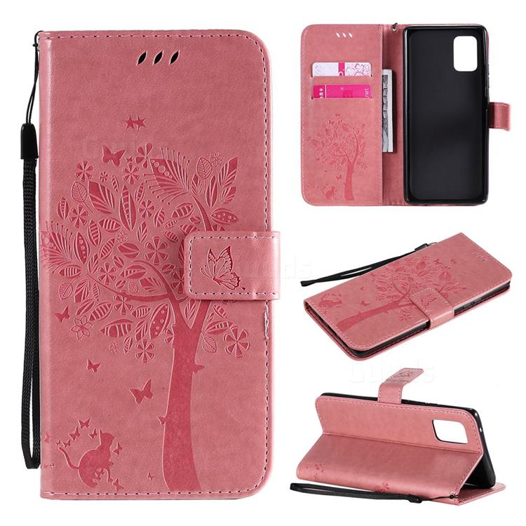 Embossing Butterfly Tree Leather Wallet Case for Samsung Galaxy A71 5G - Pink