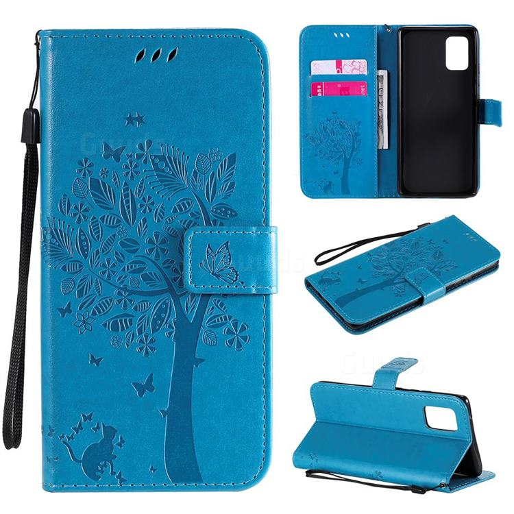 Embossing Butterfly Tree Leather Wallet Case for Samsung Galaxy A71 5G - Blue