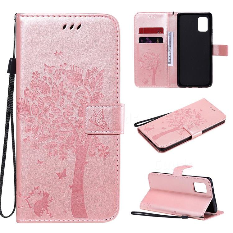 Embossing Butterfly Tree Leather Wallet Case for Samsung Galaxy A71 5G - Rose Pink