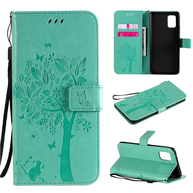 Embossing Butterfly Tree Leather Wallet Case for Samsung Galaxy A71 5G - Cyan