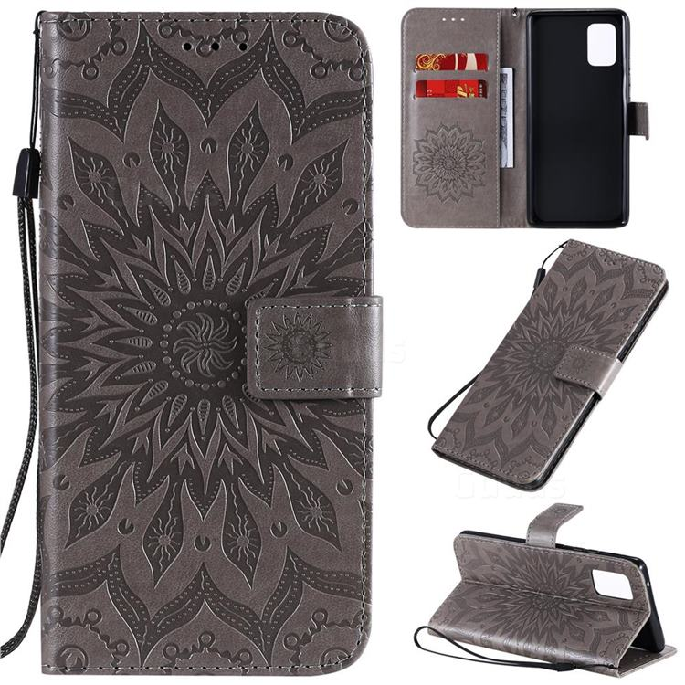 Embossing Sunflower Leather Wallet Case for Samsung Galaxy A71 5G - Gray