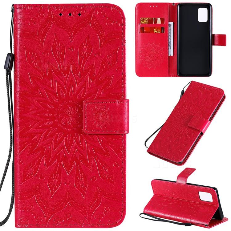 Embossing Sunflower Leather Wallet Case for Samsung Galaxy A71 5G - Red