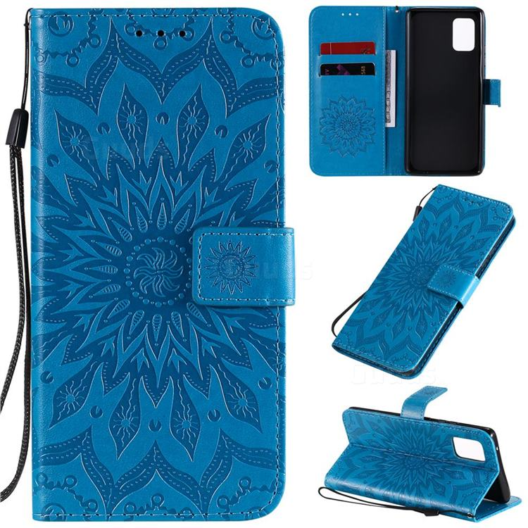 Embossing Sunflower Leather Wallet Case for Samsung Galaxy A71 5G - Blue