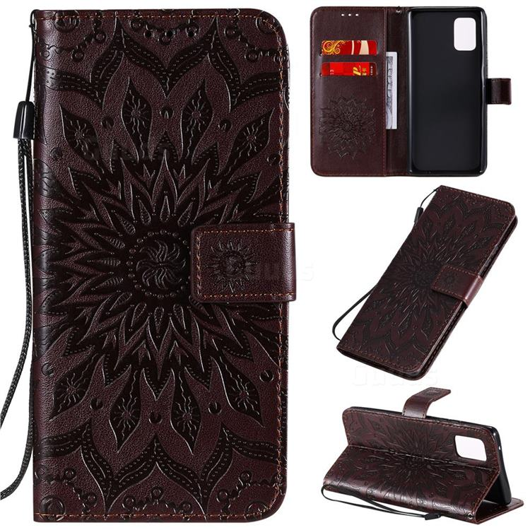 Embossing Sunflower Leather Wallet Case for Samsung Galaxy A71 5G - Brown