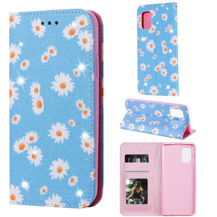 Ultra Slim Daisy Sparkle Glitter Powder Magnetic Leather Wallet Case for Samsung Galaxy A71 5G - Blue