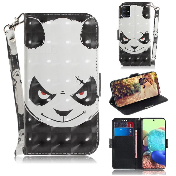 Angry Bear 3D Painted Leather Wallet Phone Case for Samsung Galaxy A71 5G
