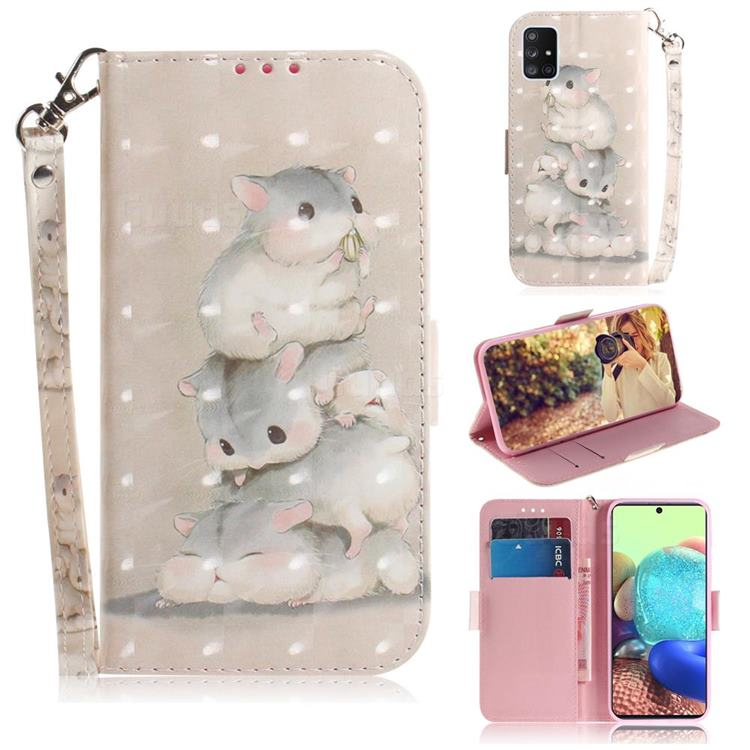 Three Squirrels 3D Painted Leather Wallet Phone Case for Samsung Galaxy A71 5G