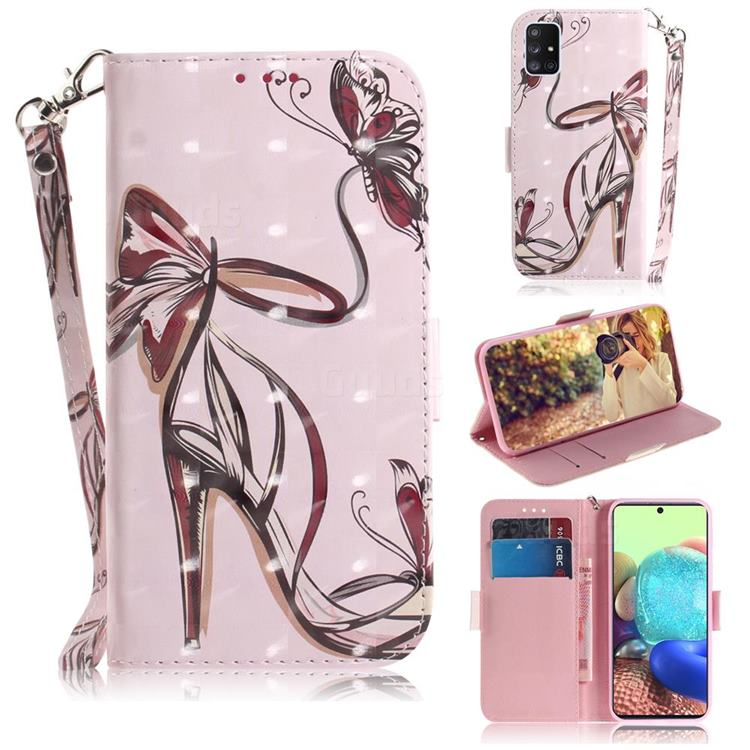 Butterfly High Heels 3D Painted Leather Wallet Phone Case for Samsung Galaxy A71 5G