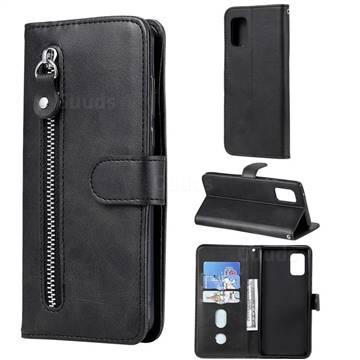 Retro Luxury Zipper Leather Phone Wallet Case for Samsung Galaxy A71 5G - Black