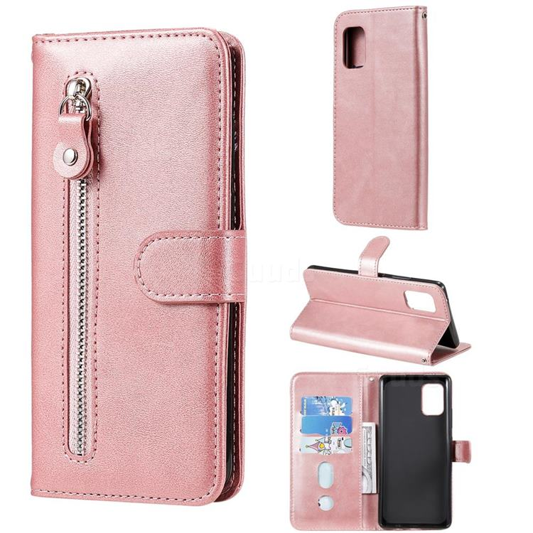 Retro Luxury Zipper Leather Phone Wallet Case for Samsung Galaxy A71 5G - Pink