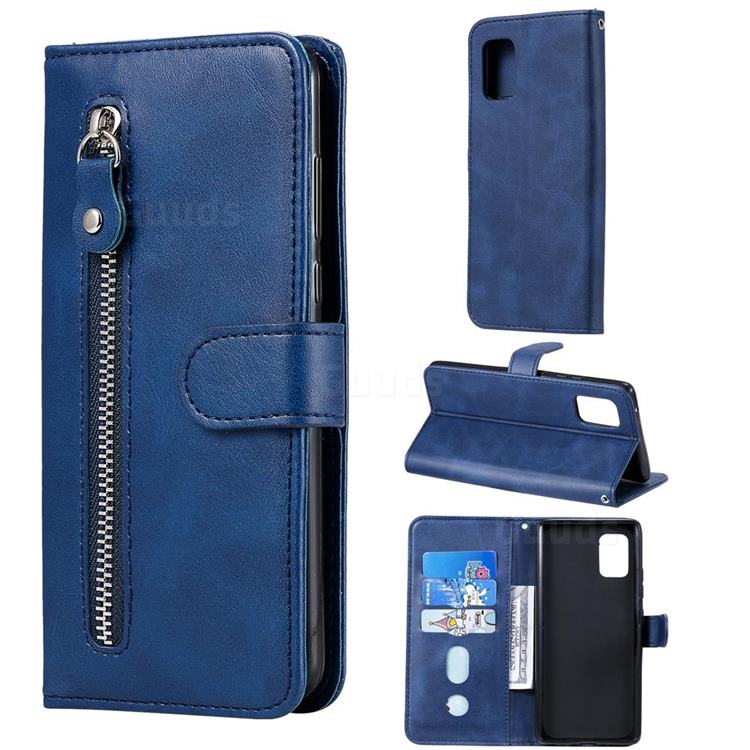 Retro Luxury Zipper Leather Phone Wallet Case for Samsung Galaxy A71 5G - Blue