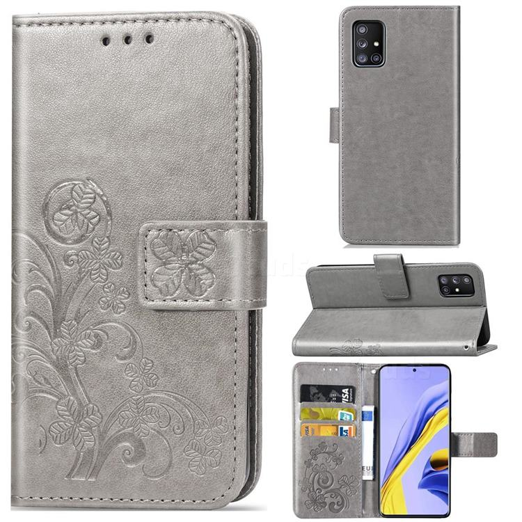 Embossing Imprint Four-Leaf Clover Leather Wallet Case for Samsung Galaxy A71 5G - Grey