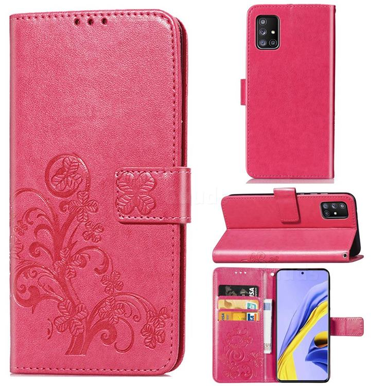 Embossing Imprint Four-Leaf Clover Leather Wallet Case for Samsung Galaxy A71 5G - Rose Red