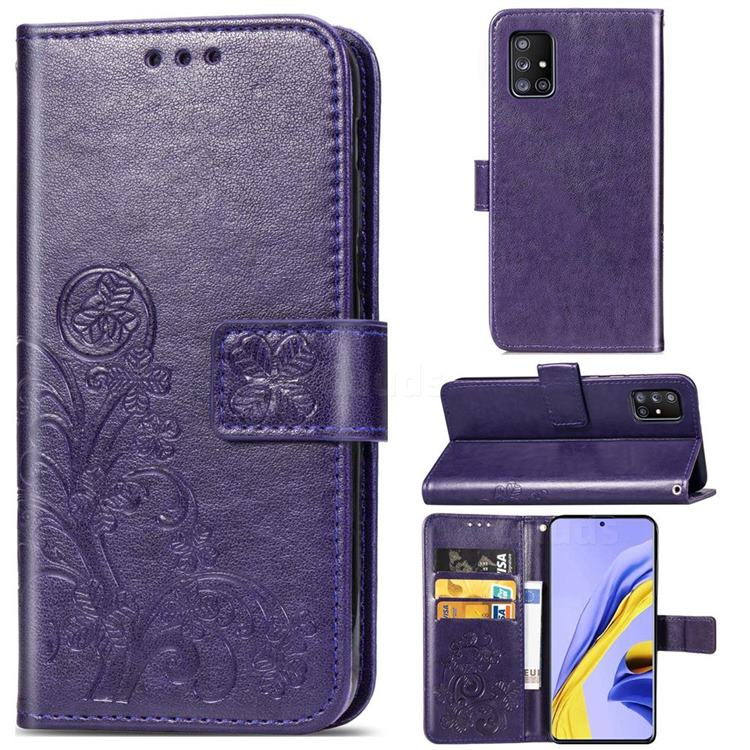 Embossing Imprint Four-Leaf Clover Leather Wallet Case for Samsung Galaxy A71 5G - Purple