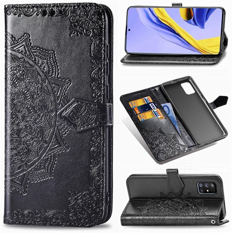 Embossing Imprint Mandala Flower Leather Wallet Case for Samsung Galaxy A71 5G - Black