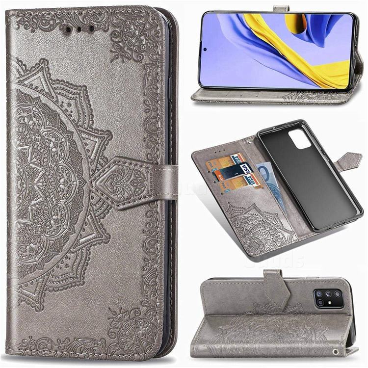 Embossing Imprint Mandala Flower Leather Wallet Case for Samsung Galaxy A71 5G - Gray