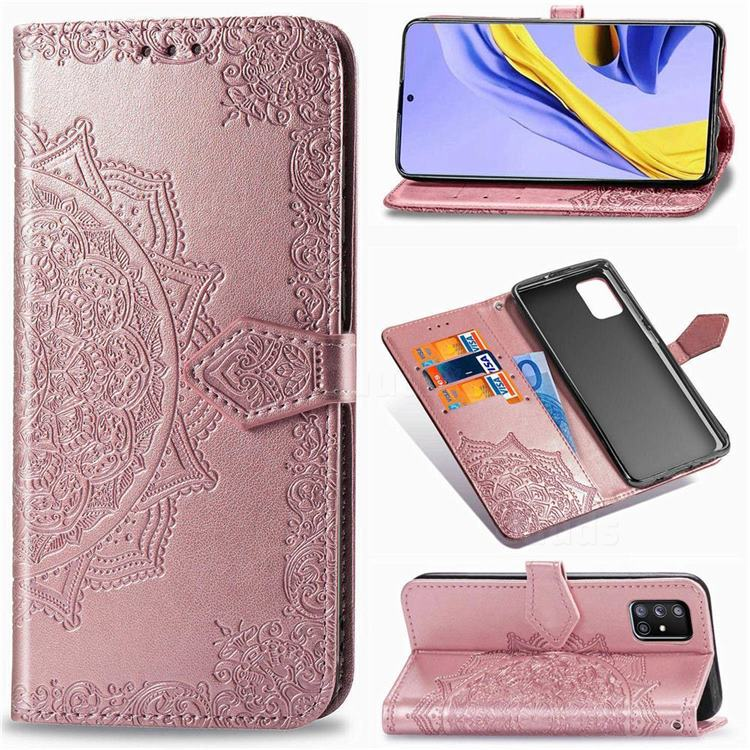 Embossing Imprint Mandala Flower Leather Wallet Case for Samsung Galaxy A71 5G - Rose Gold