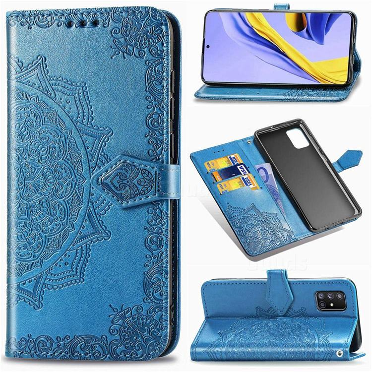 Embossing Imprint Mandala Flower Leather Wallet Case for Samsung Galaxy A71 5G - Blue