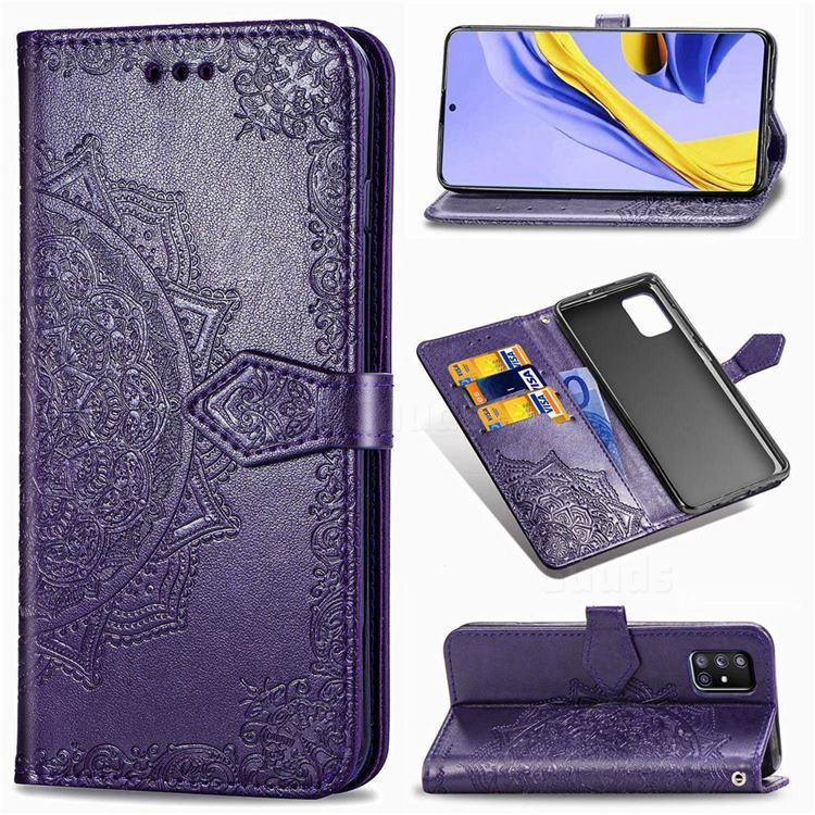 Embossing Imprint Mandala Flower Leather Wallet Case for Samsung Galaxy A71 5G - Purple