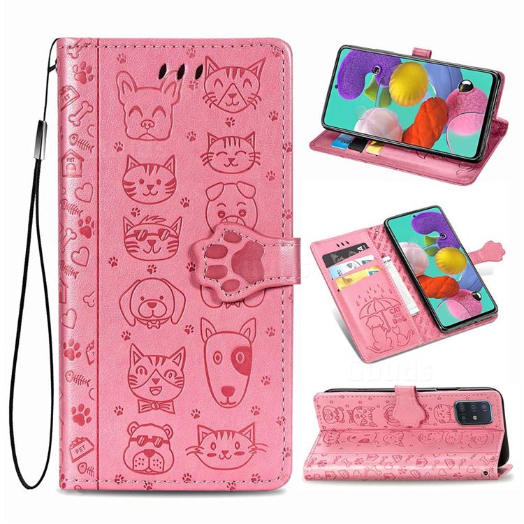 Embossing Dog Paw Kitten and Puppy Leather Wallet Case for Samsung Galaxy A71 5G - Pink