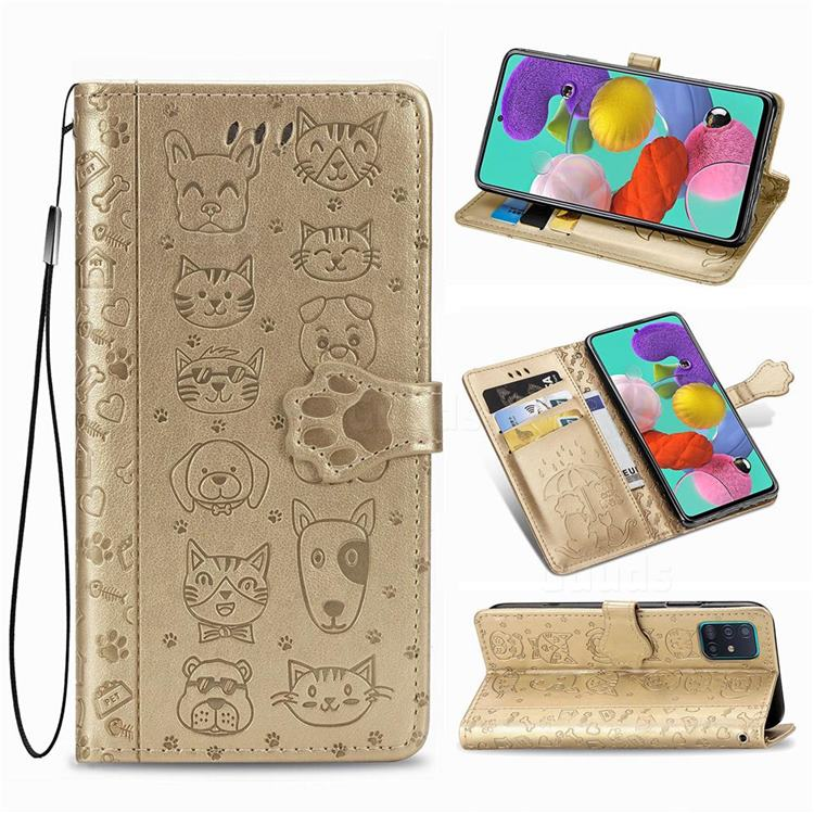 Embossing Dog Paw Kitten and Puppy Leather Wallet Case for Samsung Galaxy A71 5G - Champagne Gold